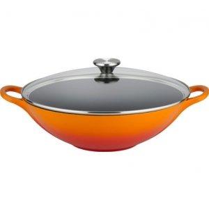 LE CREUSET - Gietijzer - Gietijzeren wok oranje met glazen d